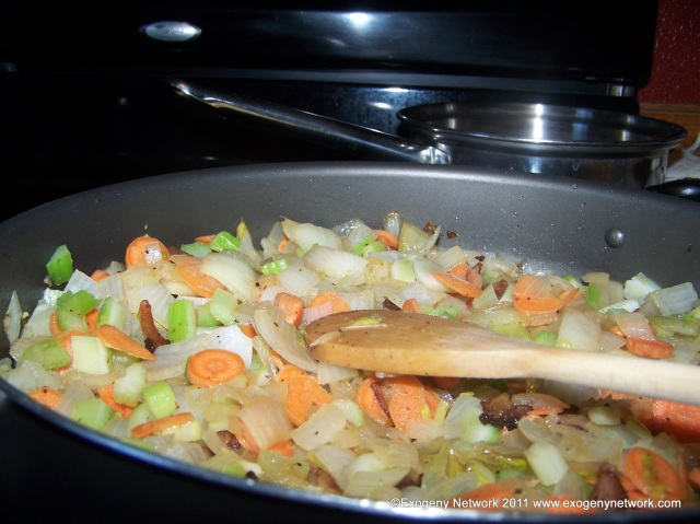 Sauteing vegetables for the stuffed pumpkin