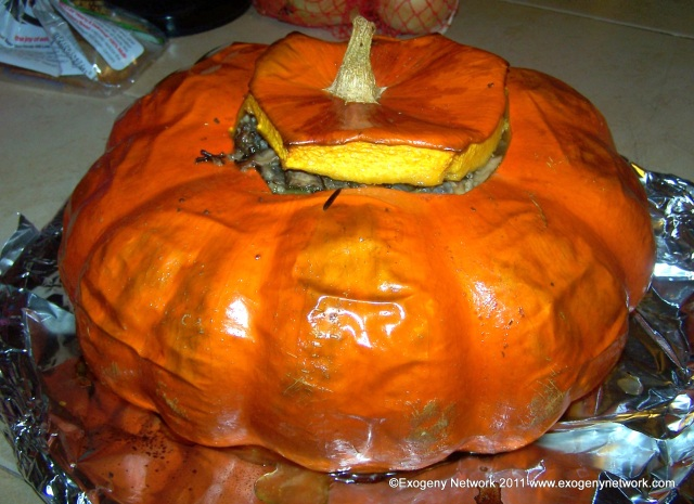Baked stuffed pumpkin, ready to serve