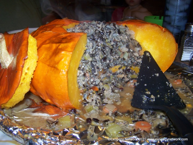 Stuffed pumpkin, after wedges have been cut and served